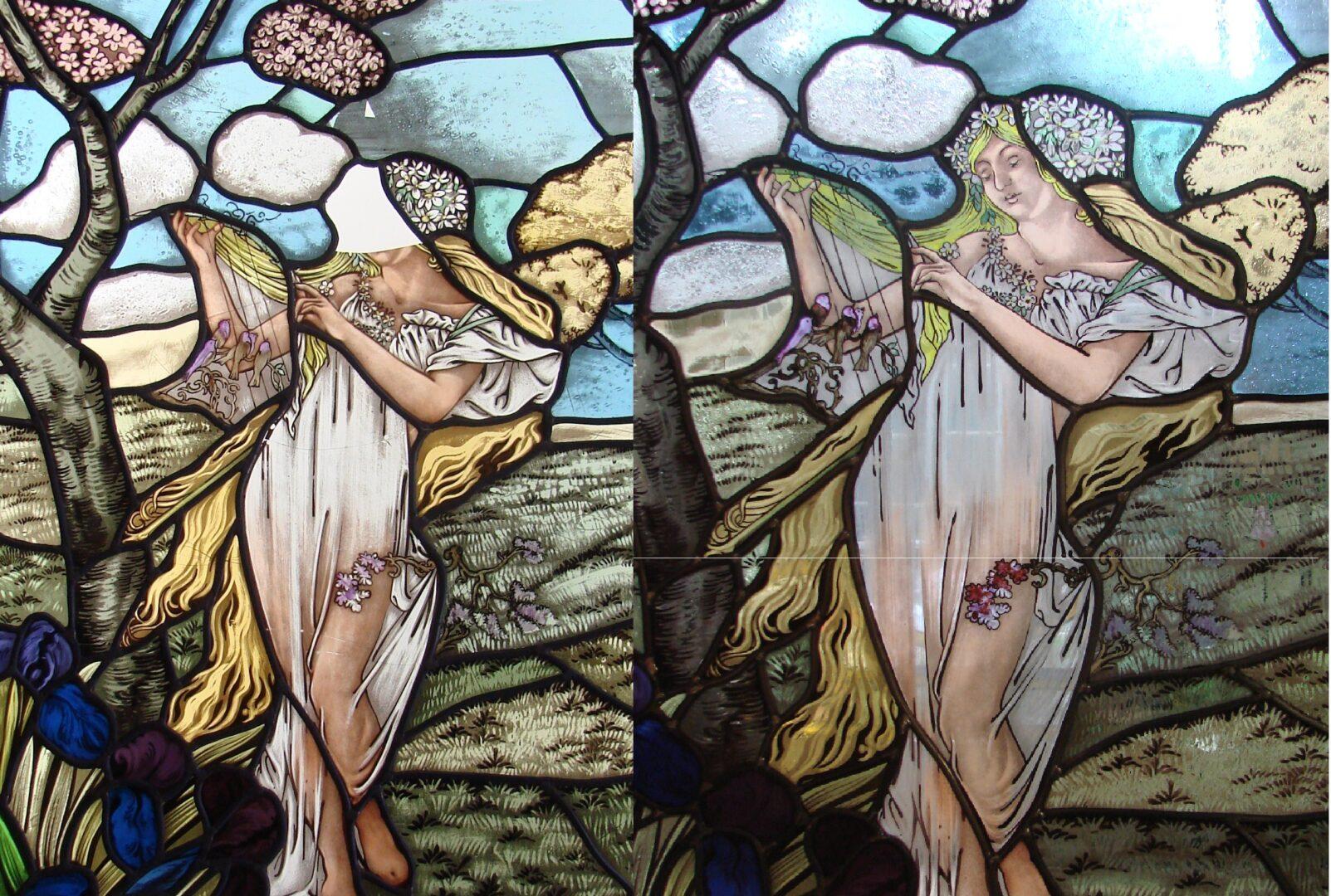 Gebrandschilderde invulling - © Atelier Mestdagh Restauratie glas in lood