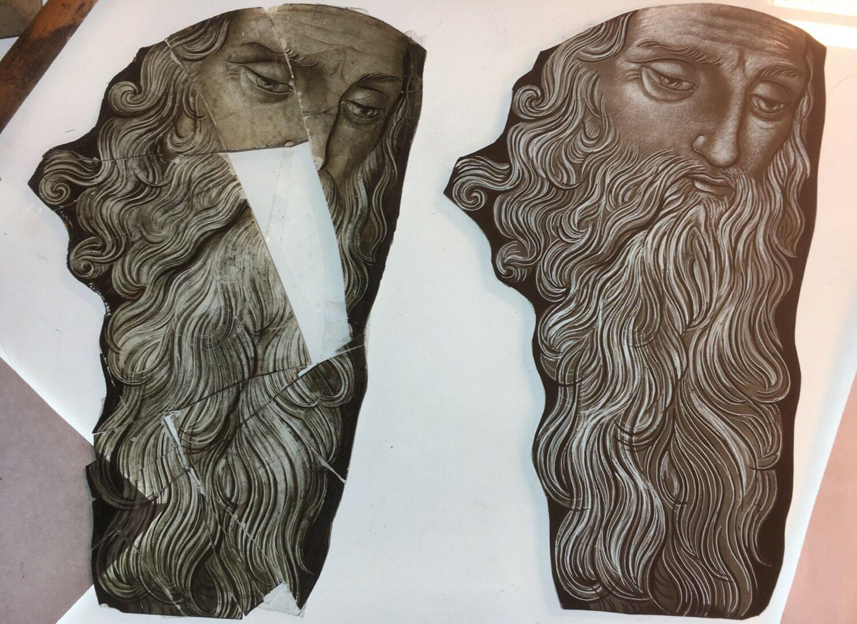 Reconstructie gebrandschilderd glas hoofd 'à l'identique' - © Atelier Mestdagh