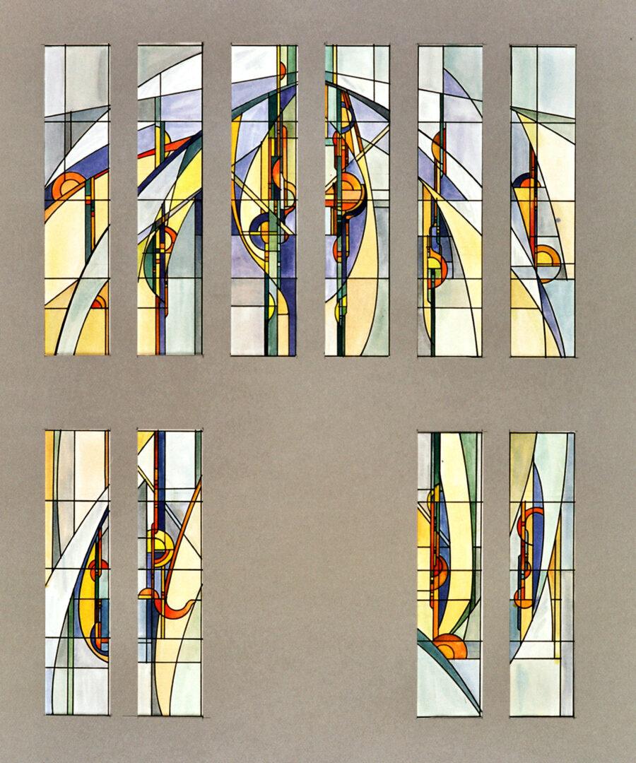 Glas-in-lood in voorgevel, ontwerptekening. Ontwerp: Ingrid Meyvaert (©Atelier Mestdagh)