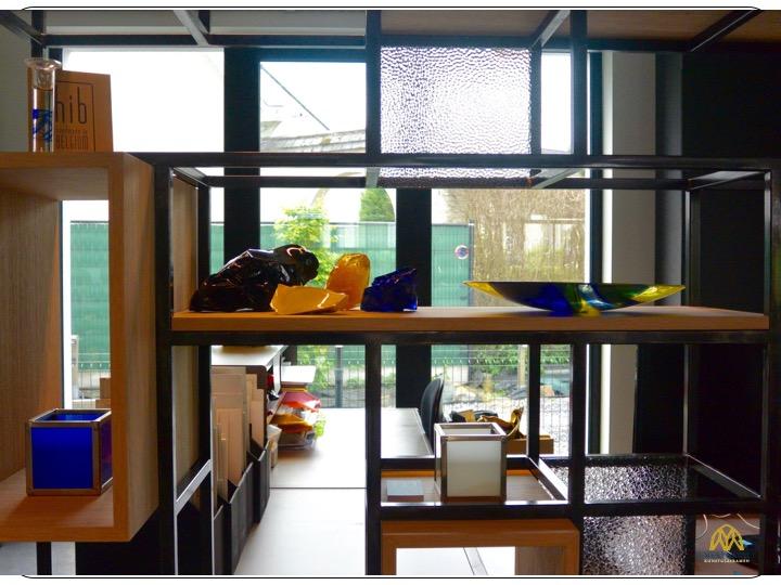 Glas in staal met hout constructie. Ontwerp: Mieke Mestdagh (©Atelier Mestdagh)