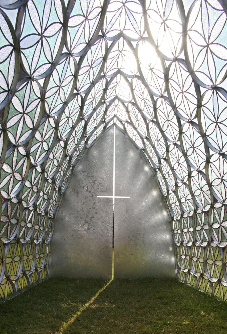 'Kapel' in glas-in-lood – ontw. Arch. Geert De Groote – © Filip Dujardin (Interesse? Neem contact op.)