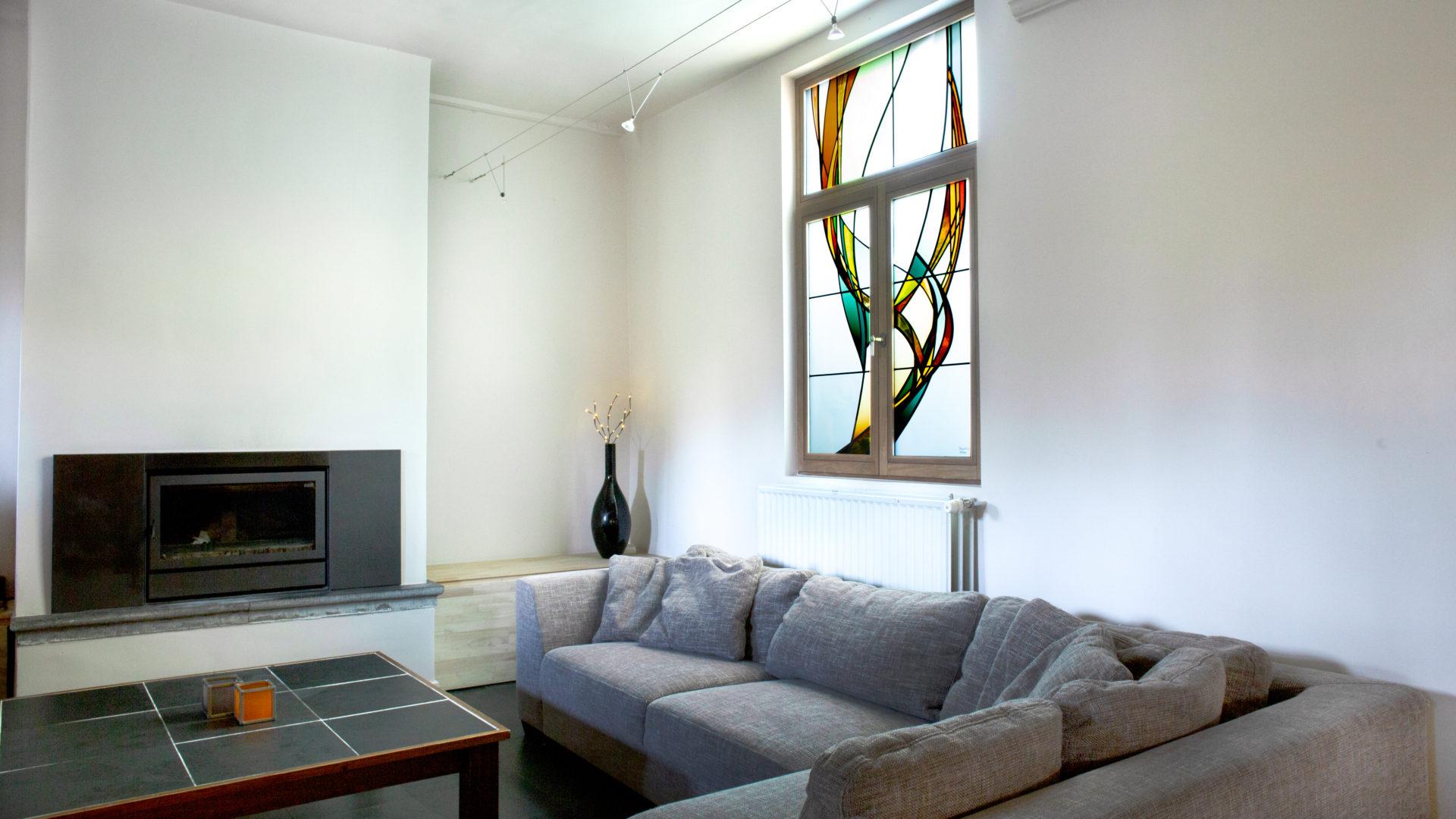 Glas-in-lood in badkamer, privé-woning te Gent.