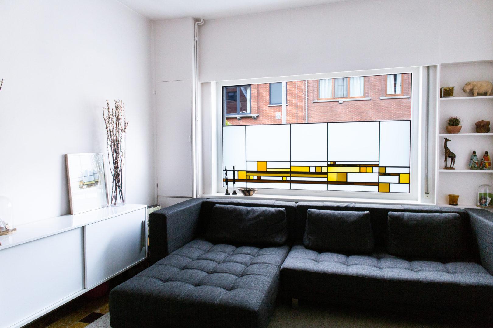 Glas-in-lood brise-vue in privé-woning te Mariakerke.