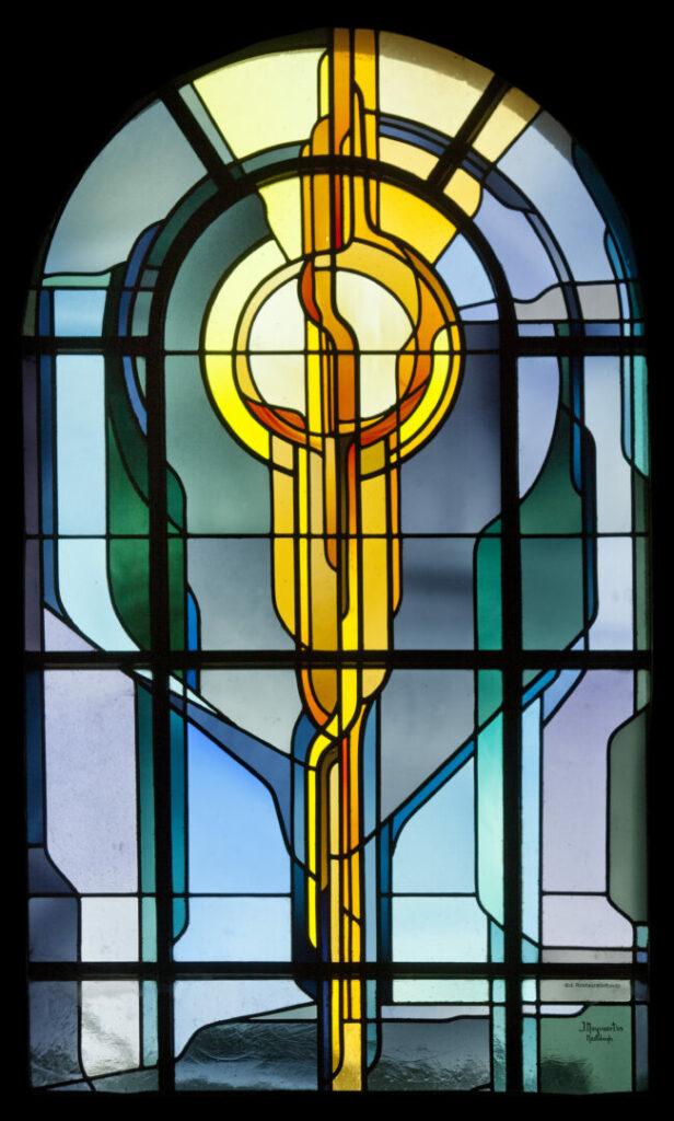 Eigen ontwerpen glas in lood Sint-Aldegondis te Deurle eucharistie Atelier MEstdagh Merelbeke