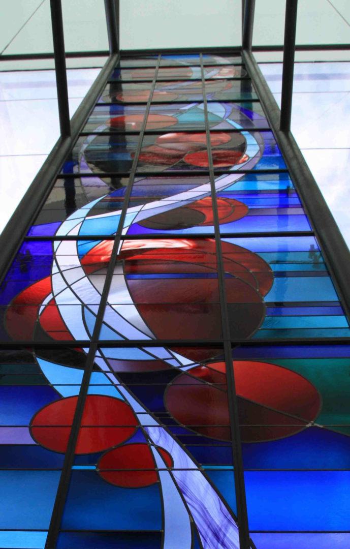 Lyrisch Abstract in voorgevel, WZC Domino, Gent. Ontwerp: Ingrid Meyvaert ©Ghislain Van Tomme